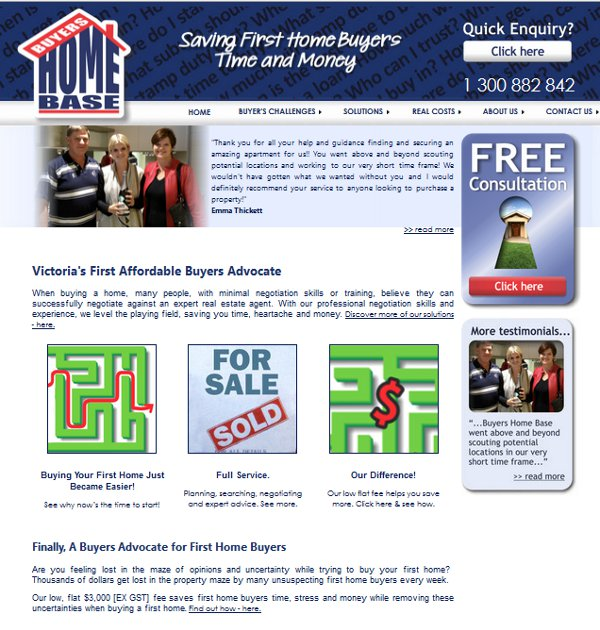 Screenshot of Buyers Home Base web site