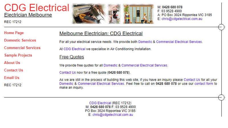 Screenshot of CDG Electrical web site