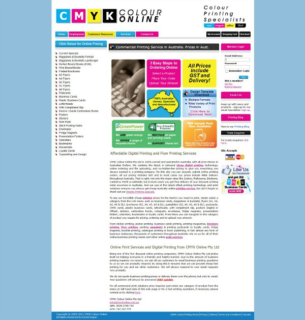 Screenshot of CMYK Online web site
