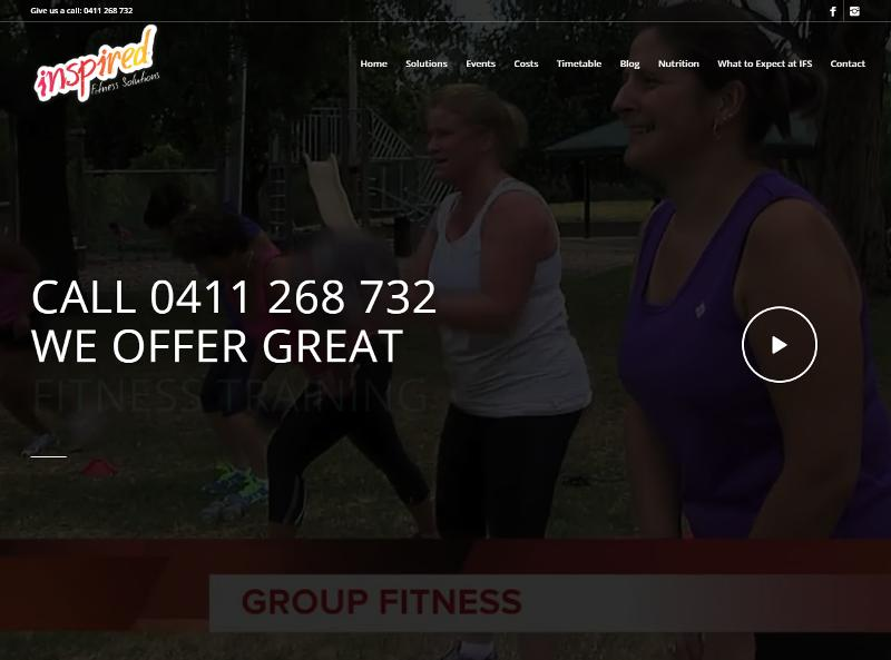 Screenshot of Inspired Fitness Solutions web site
