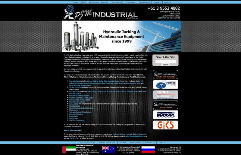 Screenshot of PJM Industrial web site