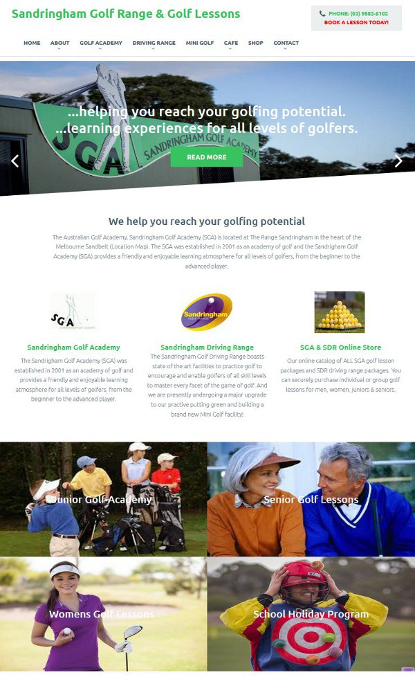 Screenshot of Sandringham Golf Academy web site
