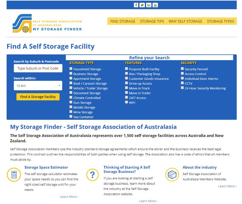 Screenshot of SSAA Storage Finder Web Site web site