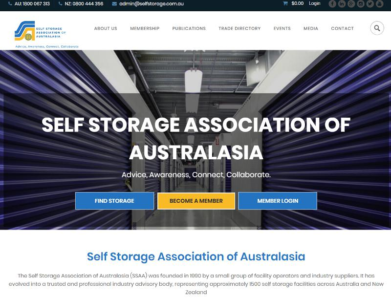 Screenshot of Self Storage Association of Australasia web site