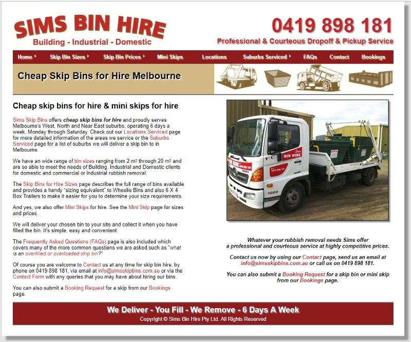 Screenshot of Sims Skip Bins web site