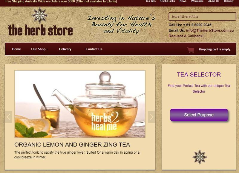Screenshot of The Herb Store web site