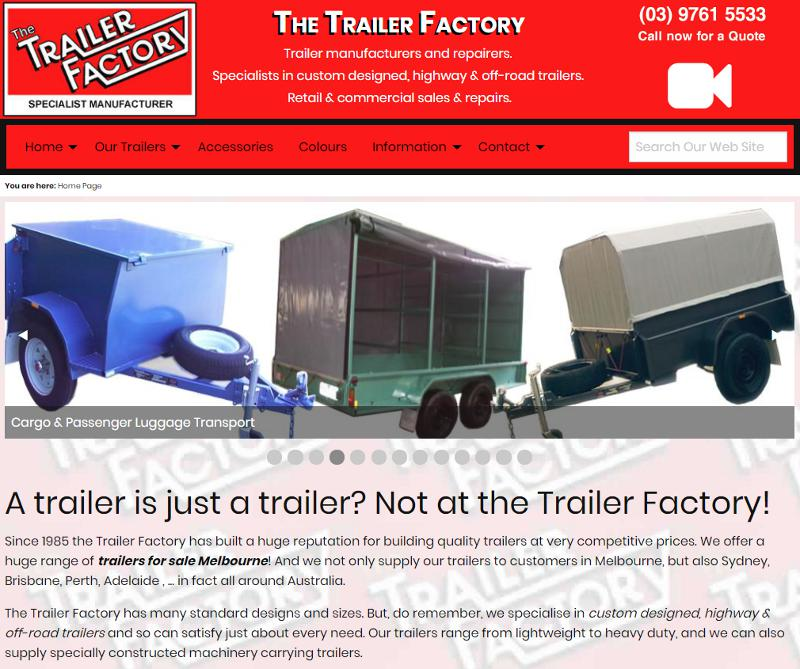 Screenshot of The Trailer Factory web site